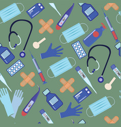 Seamless pattern with equipment medicine vector