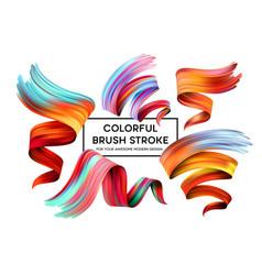 set colorful brush strokes modern design vector image