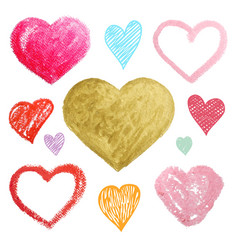 set of colored hearts in different shapes and vector image