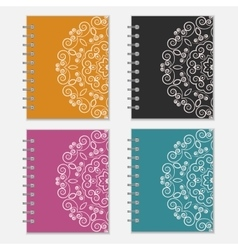Set of colorful notebook covers with flower design vector
