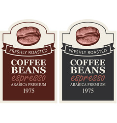 set of labels for freshly roasted coffee beans vector image