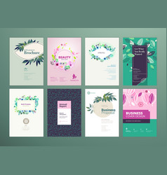 Set of natural product brochure template vector