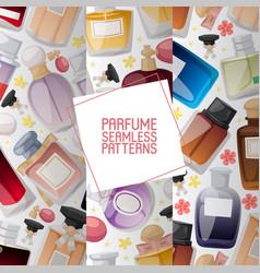 set parfume bottles on white background with vector image