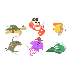 Set sea animals in a hat and a pirate bandage vector