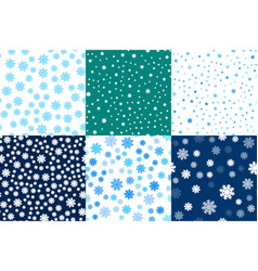 set seamless pattern snowflakes endless background vector image