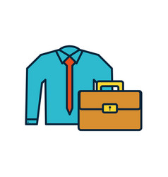 Shirt clothes elegant with portfolio suitcase vector