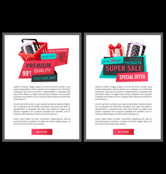 special offer exclusive products price tags vector image