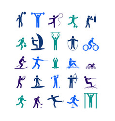 sport icon playing people color set vector image