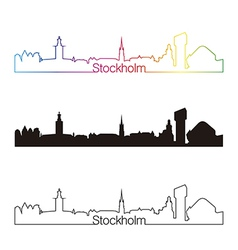 Stockholm skyline linear style with rainbow vector