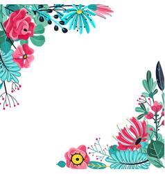 summer flowers frame floral garden flower vector image