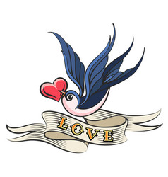 Swallow with heart and ribbon tattoo vector