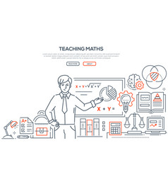 teaching maths - colorful line design style banner vector image