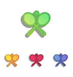 Tennis racket sign Colorfull applique icons set vector image