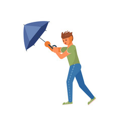 the wind tears the umbrella out vector image
