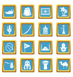 turkey travel icons set sapphirine square vector image