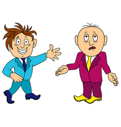 Two cartoon amusing and funny men in various vector