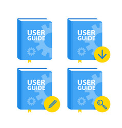 user guide book download icon set flat vector image