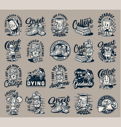 Vintage college monochrome labels set vector