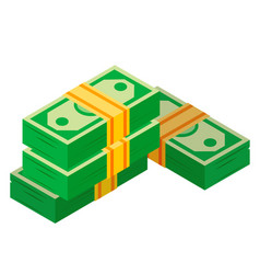 wads money banknotes piles dollars heap vector image