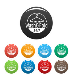 wash and fold laundry icons set color vector image