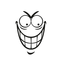 Wicked emoticon with angry smile face vector