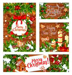 winter and christmas holidays greetings vector image