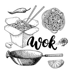 wok drawing with lettering isolated vector image