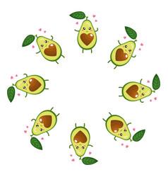 wreath from cute cartoon avocado character vector image