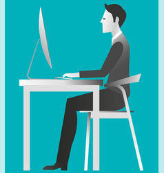 young guy working on computer desk at the office vector image