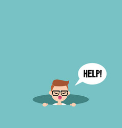 Young nerd calling for help in the pit editable vector