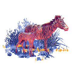 Zebra and cub standing in steppe landscape vector