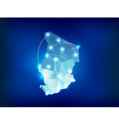 Chad country map polygonal with spot lights places vector image vector image
