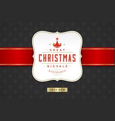 christmas sale label design on pattern background vector image