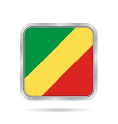 flag of congo shiny metallic gray square button vector image vector image