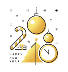happy 2018 new year flat thin line vertical gold vector image