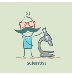 scientist with a microscope vector image