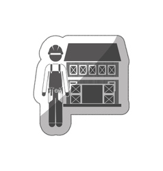 Sticker silhouette builder with helmet and house vector