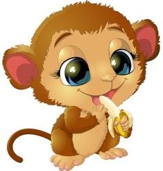beautiful monkey that holds bananas vector image