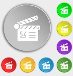 Cinema movie icon sign Symbol on eight flat vector image