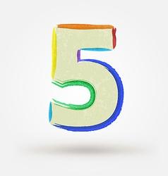 Alphabet letter number five Watercolor paint vector image