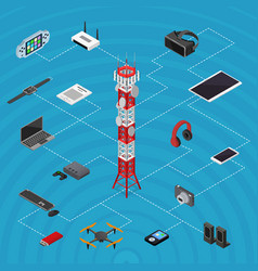 communications tower mobile phone base and element vector image