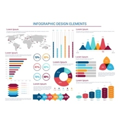 Infographics design charts and elements vector image