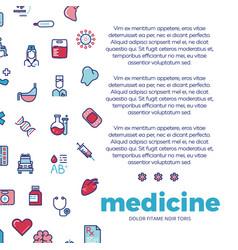Medicinal poster design with medicine line icons vector