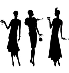 Silhouettes of beautiful girl 1920s style vector image vector image