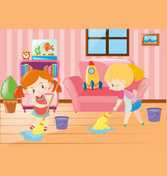 Two girls mopping living room vector