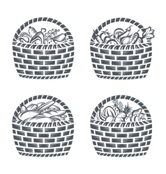 baskets with sausages fruit vegetables and baker vector image vector image