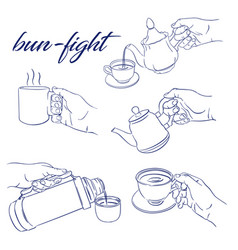 bun fight set vector image