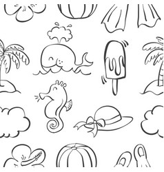 Collection of hand draw summer doodles vector