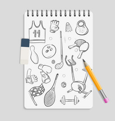 doodle sport elements on realistic notebook vector image