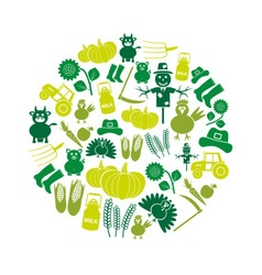 farm color simple icons set in circle eps10 vector image vector image